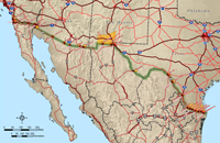 Map of the US-Mexico border.