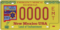Special license plates for emergency medical technicians that has the New Mexico emergency medical services logo on the left.
