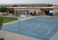 Photograph of the large outdoor basketball court at Sequoyah Adolescent Treatment Center.