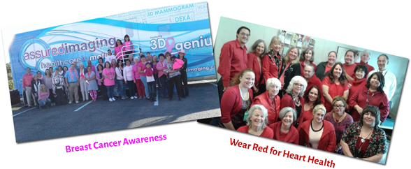 Two photographs showing the family health bureau staff supporting breast cancer awareness and wear red for heart health initiatives.