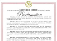 "This is a copy of the ""Public Health Week"" proclamation for the state of New Mexico dated March 30th, 2017."