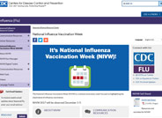 This page on the Center for Disease Control website contains information about national awareness week focused on highlighting the importance of influenza vaccination.