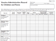 VFC Vaccine Administration Record Form for Children and Teens