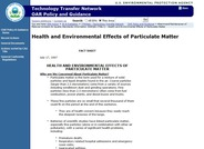 Health and Environmental Effects of Particulate Matter