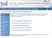 Mental health reports for New Mexico divided by public health regions.