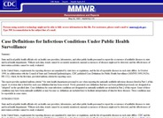 Case Definitions for Infectious Conditions Under Public Health Surveillance