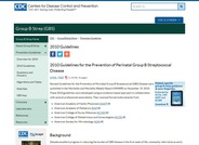 Guidelines for the Prevention of Perinatal Group B Streptococcal Disease 2010