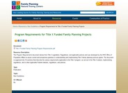 Title X Funded Family Planning Project Program Requirements